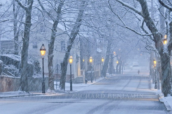 Providence, RI. Benefit Street during a snowfall. Photo by Richard Benjamin.