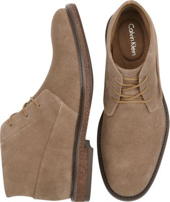 Calvin Klein Taupe Suede Chukka Boots - Boots | Men's Wearhouse