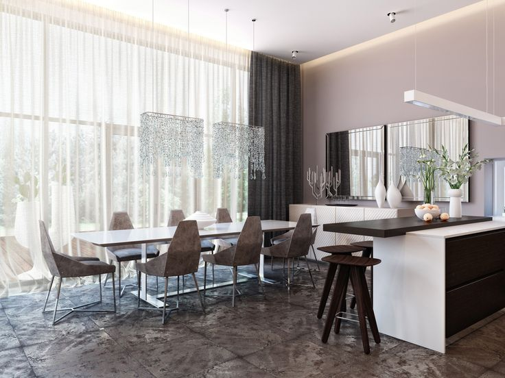 Beautiful Modern Neutral Dining Room And Kitchen With Interesting Chandiliers Mirror