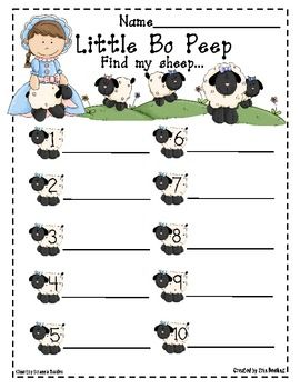 Little Bo Peep has lost her sheep and doesn't know where to find them... Students will enjoy searching around the room for Little Bo Peep's lost sheep. A perfect literacy center activity for building sight word recognition and writing skills. Simply cut out the ten sight word sheep, and stick them up in various places around the classroom.