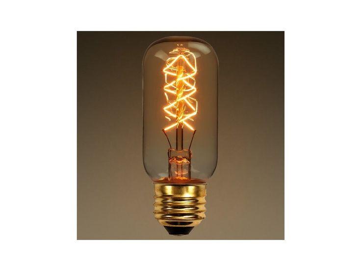 EDISON retro žárovka T45 Tubular E27 . Designová dekorativní žárovka 40W 230/240V E27.Vhodná pro otevřená svítidla, kde je žárovka vidět!Krásné zatočené uhlíkové vlákno - ideální do kaváren, restaurací nebo jiných prostor, kde chcete navodit...