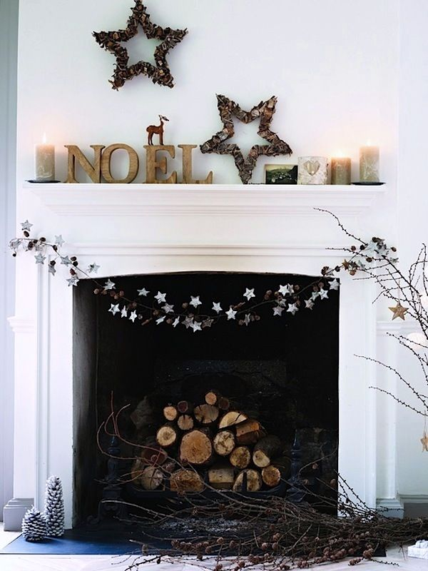 Simple and cozy from @Sarah Chintomby Klassen #hautedesign #sarahklassen #cozy #simple #holidays #winter #decorations #wood #fireplace #christmas #stars  #diy