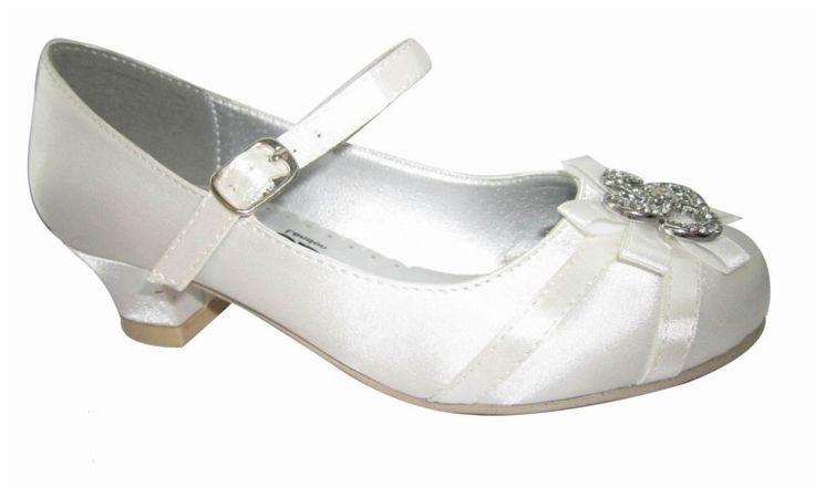 """Παπούτσια για Παρανυφάκια - Επίσημα Παπούτσια για Κορίτσια :: Σατέν Παιδικά Παπούτσια Για Κορίτσια, Γοβες με Τακούνια - Για Παρανυφάκια - Πάρτι σε Χρώμα Ζαχαρί- Ζαχαρί """"Lilian"""" - http://www.memoirs.gr/"""