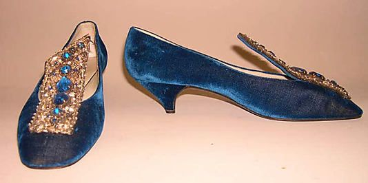 Shoes, Evening  House of Dior (French, founded 1947)  Designer: Roger Vivier (French, 1913–1998) Date: 1956 Culture: French Medium: silk, leather, glass, metal, plastic Dimensions: Length: 9 1/2 in. (24.1 cm) Height (of heel): 1 1/2 in. (3.8 cm) Credit Line: Gift of Valerian Stux-Rybar, 1979