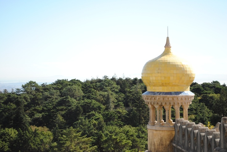 Looking over the hills from the Palacio de Pena, Sintra, Portugal