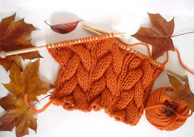 Free Pattern: Halloween Pumpkin Orange Cable Scarf by Isle Gardenia.