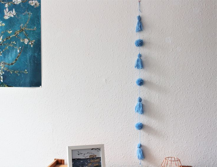 tassel and pom pom yarn garland wall hanging ella scribbles handmade