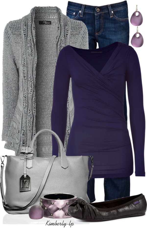 """""""Purple"""" by kimberly-lp on Polyvore -- oooh. really cute top -- I like the v-neck/crossover wrap style. the colors of the earrings is a nice complement"""
