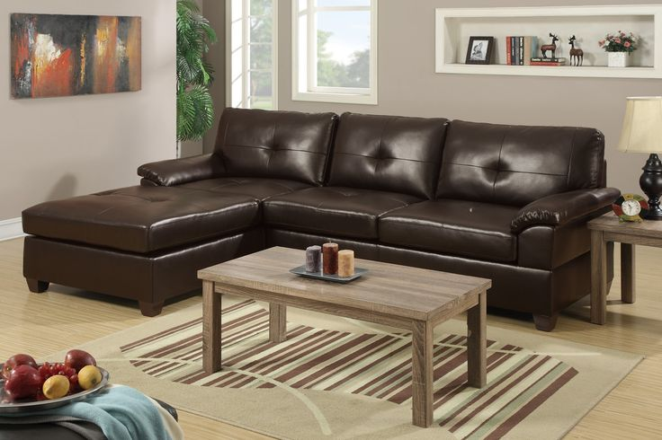An essential design of clean lines and bold color, this two-piece sectional in bonded leather features a reversible chaise making it a functional piece for any living space.  Sectional Sofa Sale for $1200