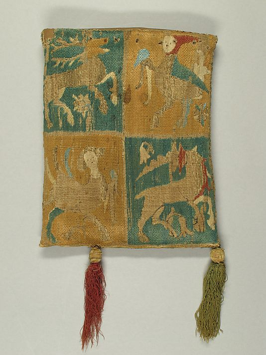 Purse with Two Figures under a Tree, 14th C French, Embroidery in silk and metal thread -satin and couching? 'gold'highlight threads counched in squiggly lines.