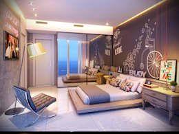 Apartamento em Miami - Château beach: Quartos  por Giovanna Castagna Arquitetura Interiores