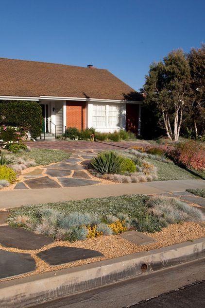 Low water use sidewalk strip and garden by Gregory Davis & Associates
