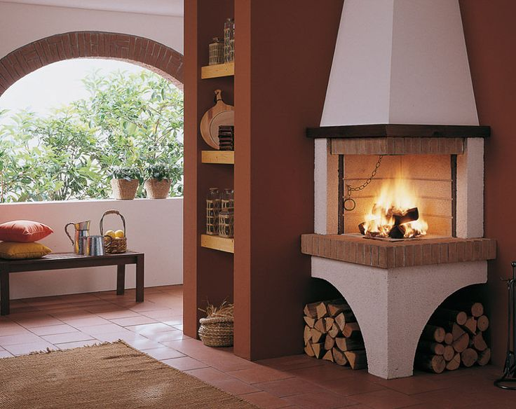 beautiful corner fireplace with built-in shelving