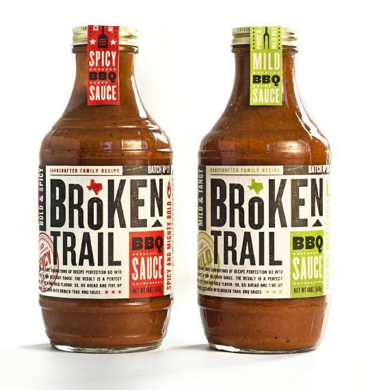 Broken Trail BBQ Sauce by Imaginaria Creative  - TYPE: different scale and shifts; reflects product name; distressed looking