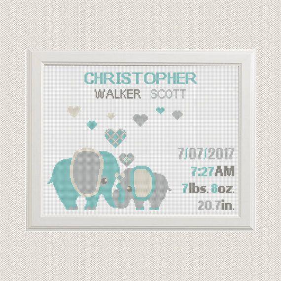 Birth announcement baby sampler Cross stitch от AnimalsCrossStitch