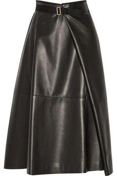 The Row Ramnar leather midi skirt | NET-A-PORTER