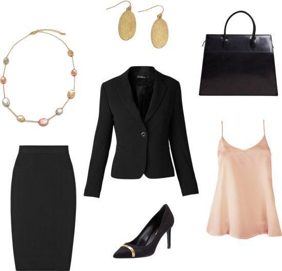 Formal interview outfit idea - basic black suit ...