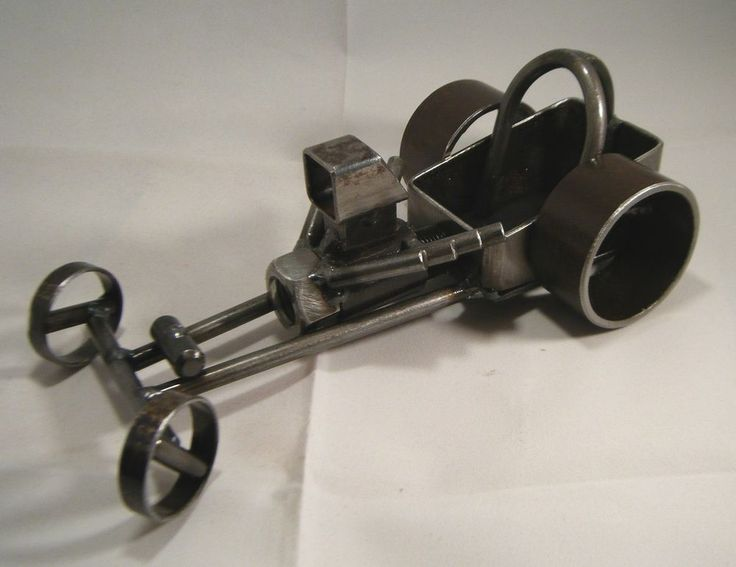Vintage Style Dragster Hot Rod Metal Sculpture garage art man cave rockabilly