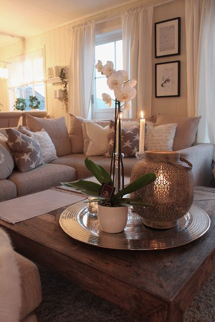 Love the cozy neutral feeling of this living room