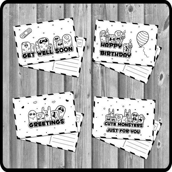 Cute doodle monsters  postcard set 4 pcs. by Fun2Art on Etsy