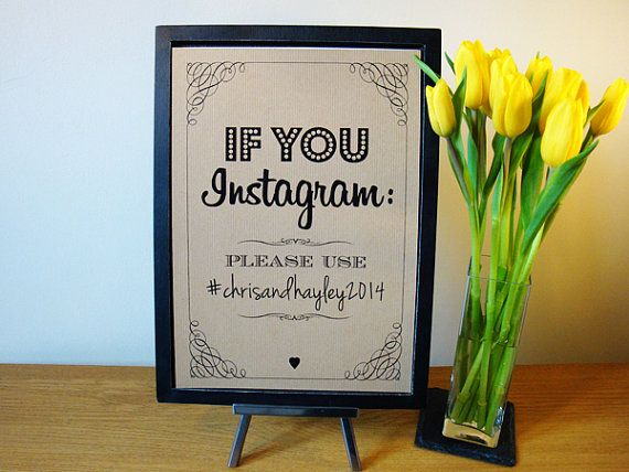 Instagram Wedding Sign - vintage / rustic style