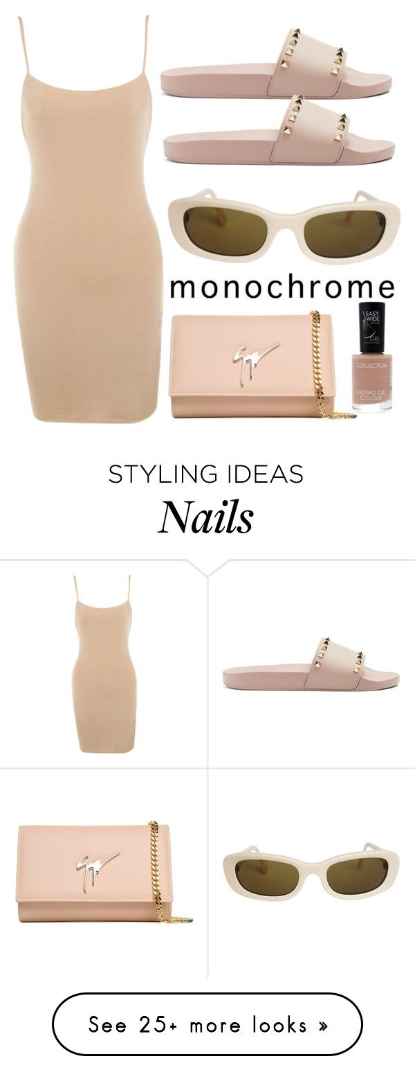 """Nude monochrome"" by dakotabydesign on Polyvore featuring Giuseppe Zanotti, Chanel, Valentino and monochrome"