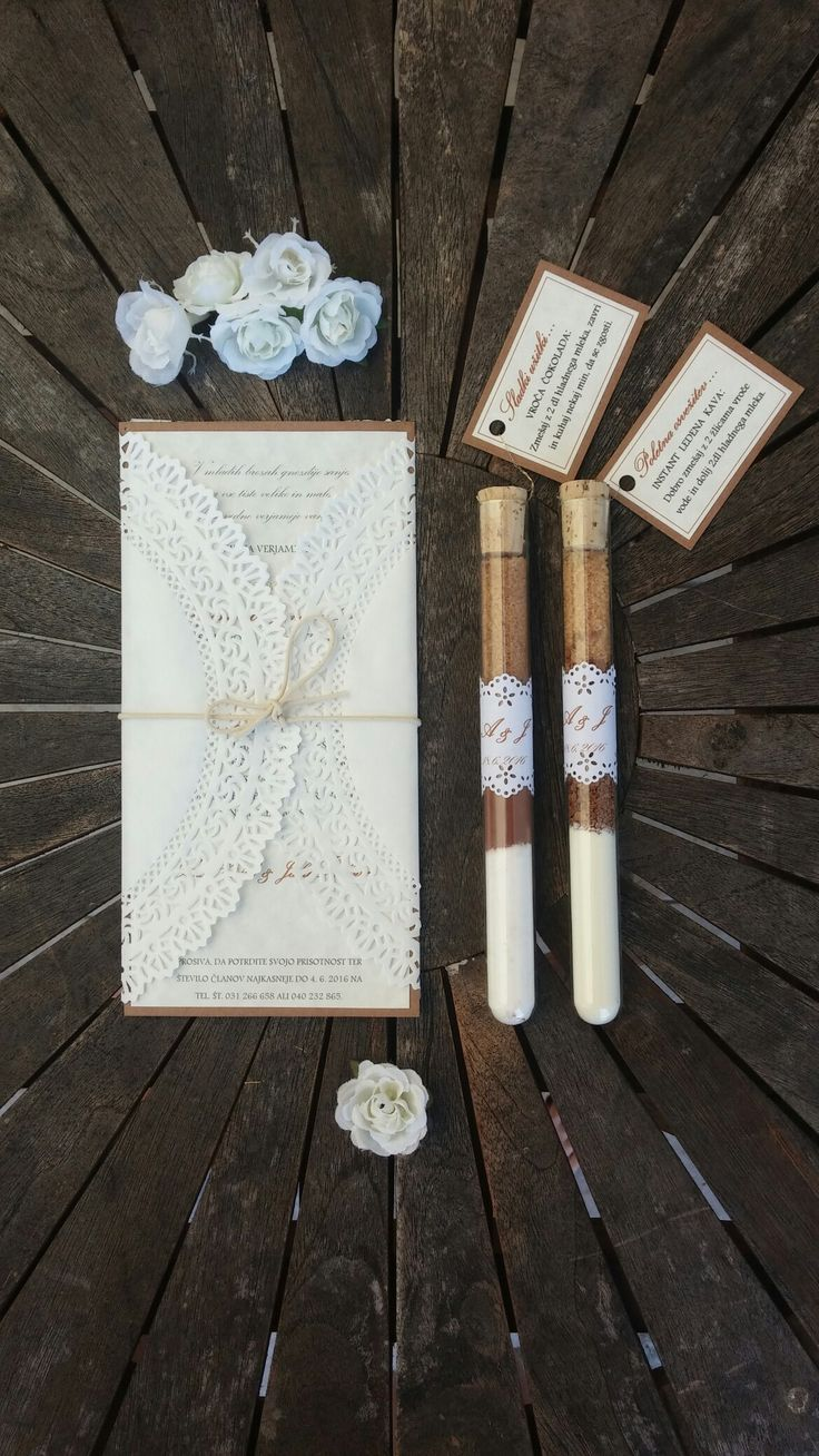 Rustic - romantic lace wedding invitation with wedding favours.