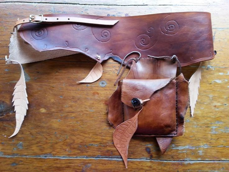 Rustic Tan Boho Festival Belt with pouch with Leather Leaves