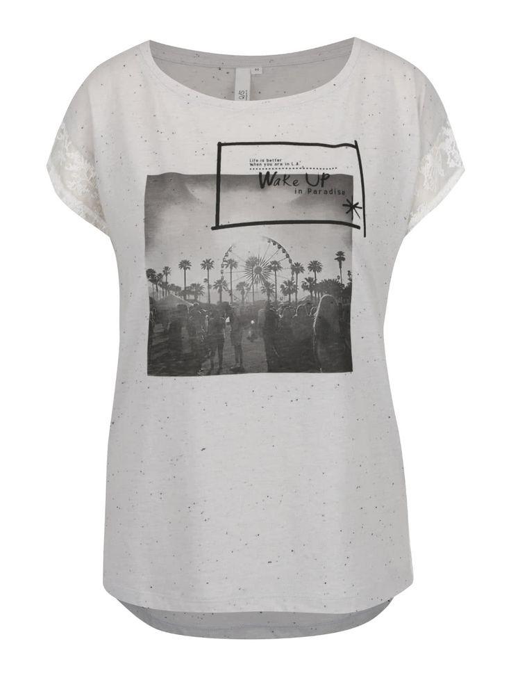 Sivé dámske tričko s čipkou QS by s.Oliver