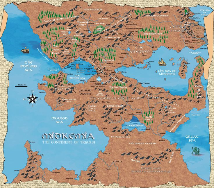 The main setting for the fantasy novels of Raymond Feist. Plenty of wars in this fantasy setting. The Midkemia is the world, 2 continents have been described Triagia and Novindue. The world is connected in some stories through a rift into a world called Kelewan. The setting has its own wiki.