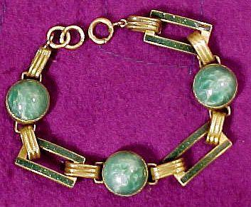 Art Deco Peking Green Glass and Enamel Bracelet c1920s