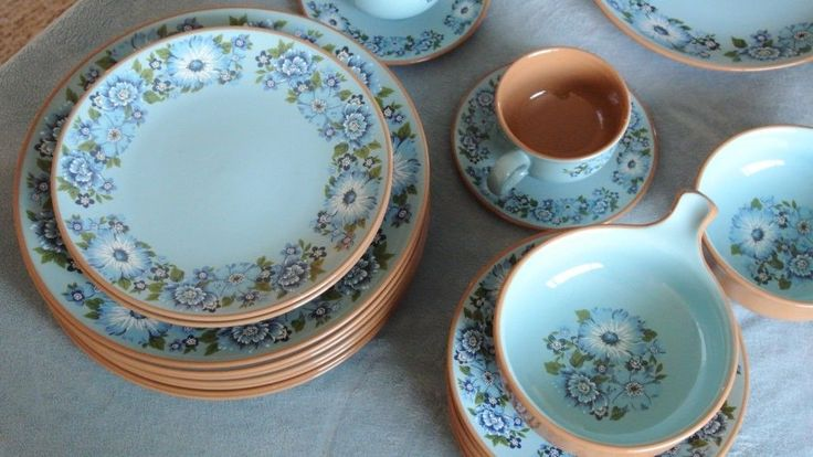 1968 Ceramic Dinnerware 46 pc Set Azura by Taylor Smith Blue Floral Pattern | eBay