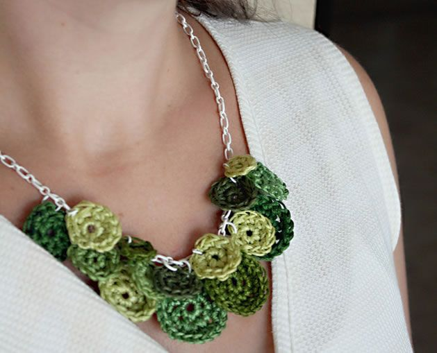 I love the juxtaposition of soft and hard in this cute crochet necklace project from Jessica of Happy Together. You could switch up colors and make a necklace for every season.