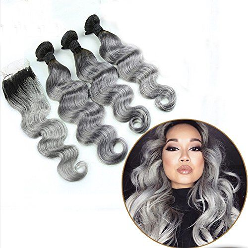 Ombre Hair Weave Body Wave 1B/Grey 7A Brazilian Peruvian Indian Virgin Hair Bundles With Lace Top Closure Silver Hair Extensions(22 22 22 with 16 Inch)