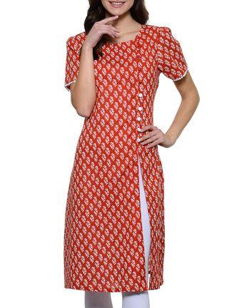 red cotton straight kurta on LIMEROAD.COM