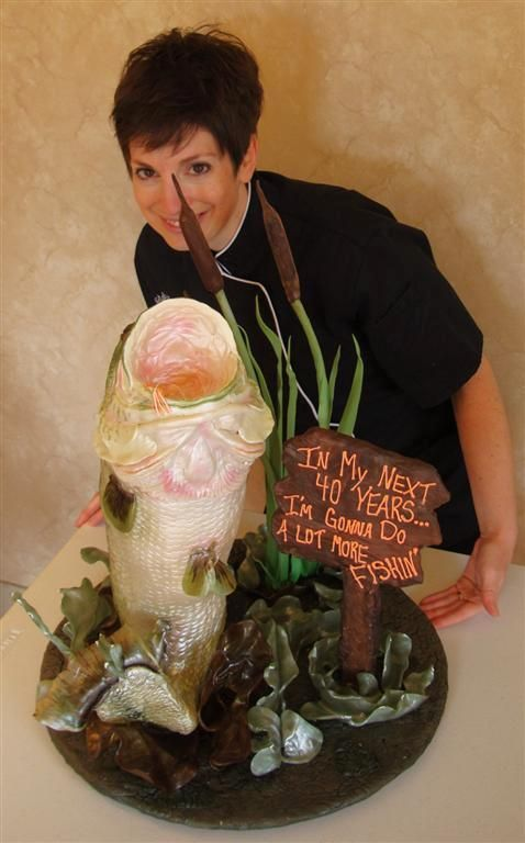 - Natalie with her big mouth bass, fishing birthday #cake.
