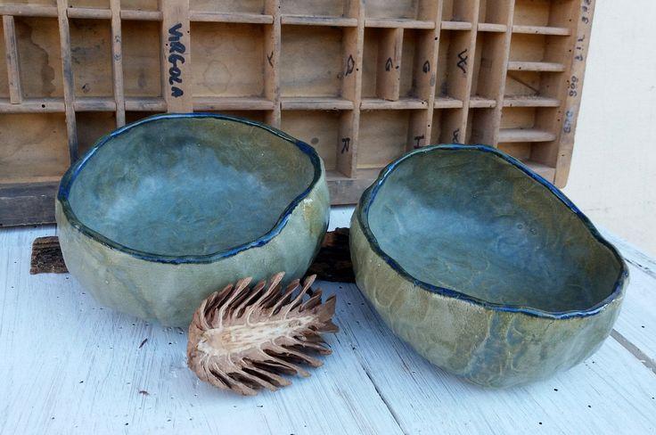 Set di ciotole verde blu / ceramic bowls / stoneware ceramic bowl / fatto a mano / verde e blu di QBceramics su Etsy