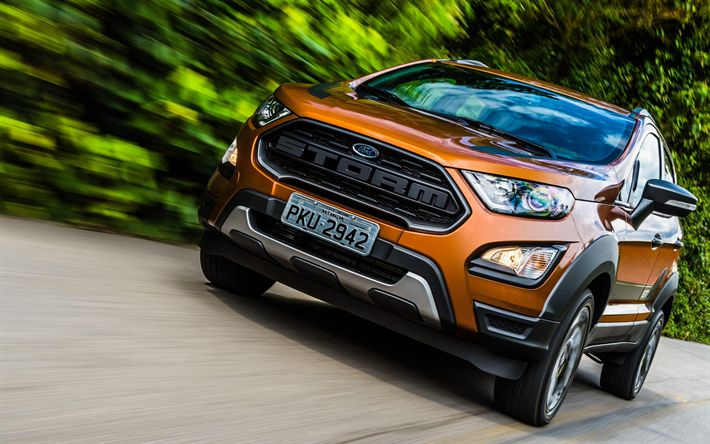Download wallpapers Ford EcoSport Storm, 4k, crossovers, 2018 cars, road, new Ford EcoSport, Ford
