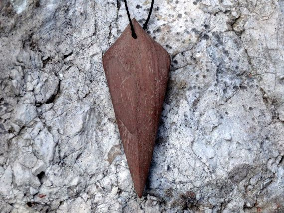 Arrowhead Hand Made Carved Wooden Pendant