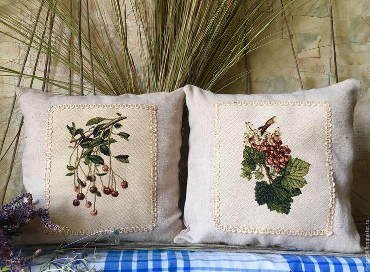 """Купить """"Тихий лен"""". Комплект из 2х подушек - комбинированный, подушки ручной работы, лен"""