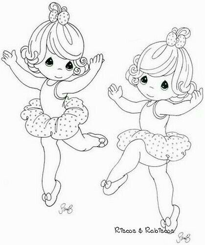 Precious Moments Coloring Page(s)   A Pair Of Dancing Ballerinas.