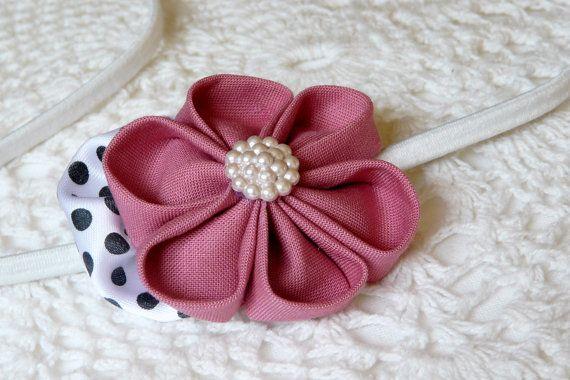 Preppy blush pink kanzashi flower with a polka dots