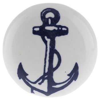White Ceramic Knob with Blue Anchor bought for downstairs bathroom, maybe use on shelf cabinet