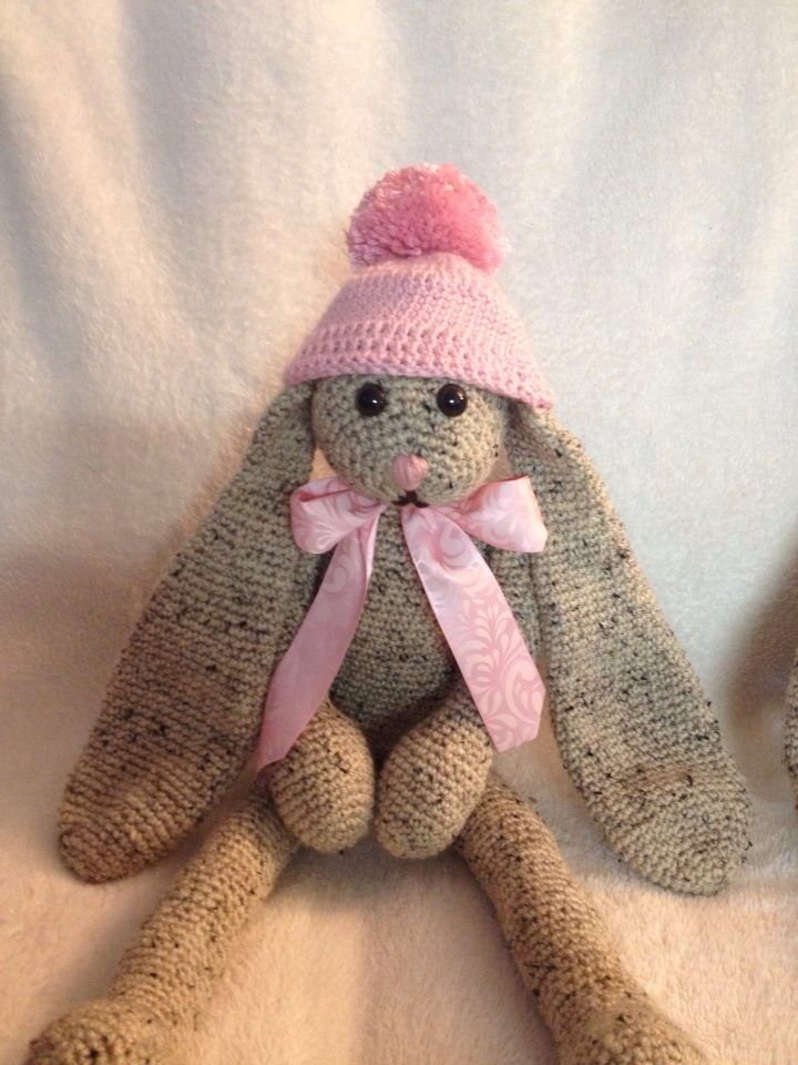 Crocheted Winter bunny with a hat