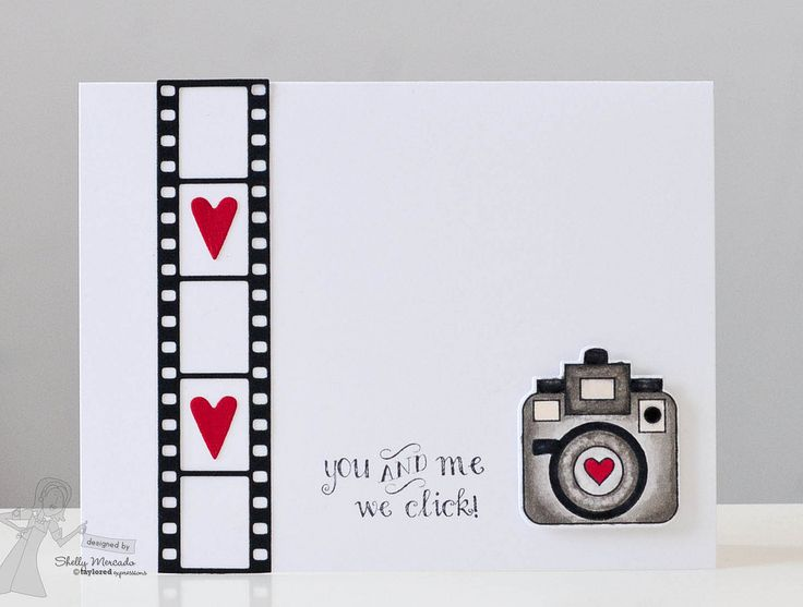 handmade Valentine card ... ShellyFilmStripBorderThurs1 ...clean and simple ... die filmstrp with two red hearts ... camera with heart in the lens ... punny sentiment:  you and me we click ... sweet!! ... Taylored Expressions ...