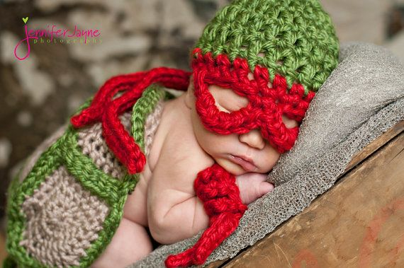 TMNT shell, hat and armbands Adorable Photo Prop Super Hero Inspired. Newborn Prop Turtle Power on Etsy, $55.00