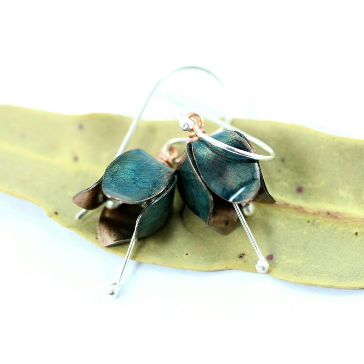 Tulip Earrings made from sterling silver a copper
