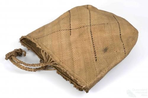 Pandanus basket, Vanuatu, 1883-1900    This bag made from plaited pandanus leaves comes from Penama in Vanuatu. It was acquired by a sea captain of the labour vessels that recruited Pacific Islanders to work in the Queensland's sugar industry in the 1800s. The bag links the Australian South Sea Islander community with their ancestral homelands in the Pacific.