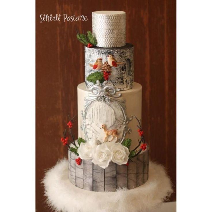 Winter Wedding Cake  by Sihirli Pastane - http://cakesdecor.com/cakes/266395-winter-wedding-cake