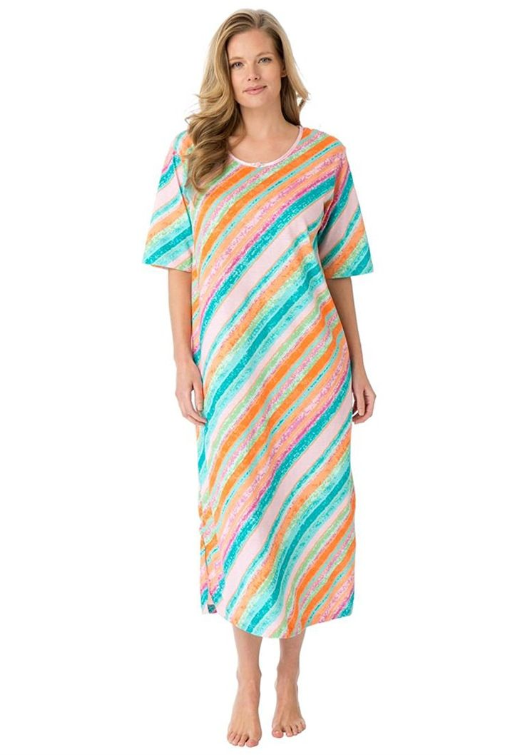 Dreams and Co. Women's Plus Size Long Tag-Free Sleepshirt Multi Stripe,5X/6X ** Don't get left behind, see this great  product : Plus size tops